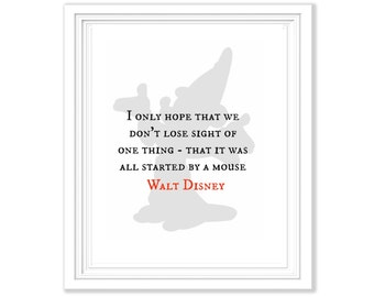 Walt Disney Quote Mickey Silhouette Printable - Digital File