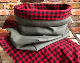 Olive Drab Army Green Duck Canvas Buffalo Plaid Woven Cotton Flannel Knit Crochet Project Bag Finger Loop Strap Drawstring Tote Ditty