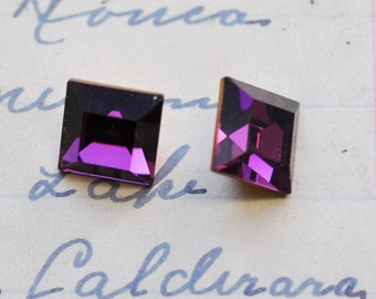 Two Vintage 10 X 10 square Swarovski crystals, Amethyst, purple crystals, craft supplies, jewelry supplies by Calliopes Attic