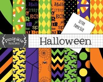 8.5x11 Halloween Digital Paper, Letter Size Digital Scrapbook Paper, Chevron, Polka Dots, Bats, Spiders, Candy Corn, Orange, Green, Purple