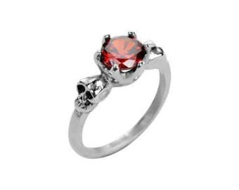 Ladies Imitation Ruby Stone Solitaire Skull Ring Stainless Steel Motorcycle Jewelry
