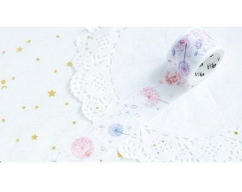 Dandelion Washi Tape - Dandelion Sticker - Spring Washi Tape, 30mm x 5m