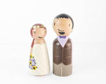 Bohemian cake topper - Wooden Peg Cake Toppers - hippy wedding decor - wooden peg figures - custom peg people - boho wedding - boho toppers