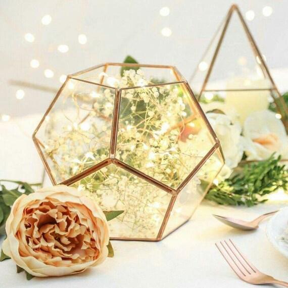 Glass geometric terrarium wedding table decor succulent