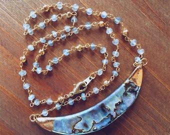 Labradorite Abalone Pendant Necklace