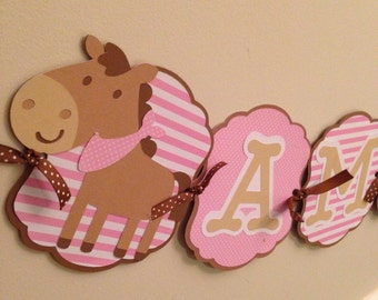 Horse Banner, horse birthday party banner, horse name banner!