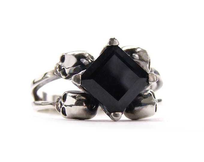 Double Skull Engagement Ring with Square Black Spinel in Sterling Silver - All Sizes