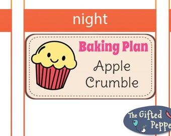 Baking Plan stickers [Printable]. Bake, cake. For Erin Condren Planner. Stickers.
