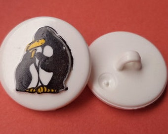 7 buttons for kids white button Penguin 19 mm (3634)
