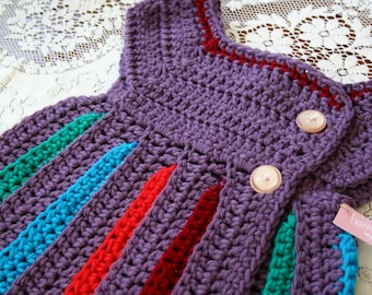 12-18 Month Crochet Baby Dress / Baby Girl Clothes / Rainbow Baby Dress / Baby Shower Gift / Baby Gift / Baby Dress / For Baby Girl