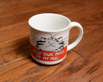 vintage 80s Boynton cat mug Keep Your Paws Off My Mug cartoon cat kitsch kitchen coffee tea cup Recycled Paper Products Japan