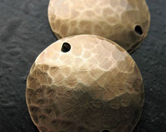 20mm Antiqued Brass Hammered Double Hole Discs - 1 pair