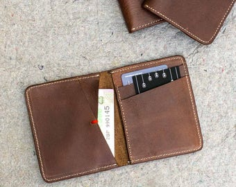 Rustic Brown Men's Slim Bi-fold Leather Wallet