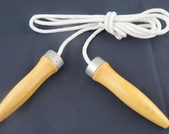 Vintage Jump Rope with Wooden Handles and Ball Bearings from the 1980's.