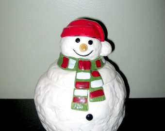 Vintage Festive Holidays Christmas Snowman Cookie Jar
