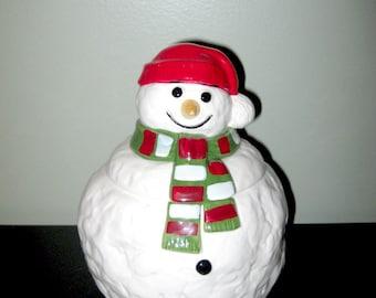 Vintage vacances fête Noël bonhomme de neige Cookie Jar