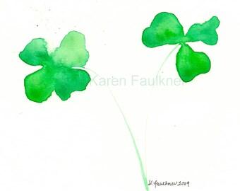 """Watercolor green clover art print: """"Lucky Shamrocks"""""""