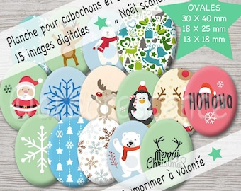 Scandinavian Christmas - picture digital oval 30 / 40mm, 18 / 25mm and 13/18 mm