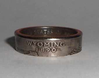 Sealed WYOMING us quarter  coin ring size  or pendant