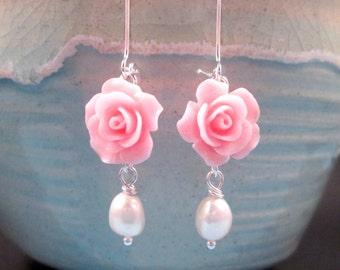 Pearl Earrings, Freshwater Pearls and Flowers, Pink Rose Earrings, Silver Dangle Earrings, FREE Shipping U.S.