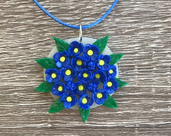 Blue flowers polymer clay necklace