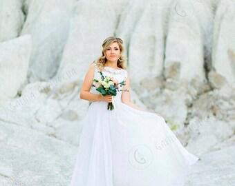 Ivory Simple Wedding Dress, Lace Wedding Dress, Boho Wedding Dress, Long Chiffon Wedding Dress, Modern Wedding Gown, V Back Wedding Dress