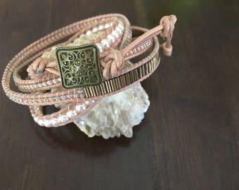 Pink & Pearl Glass Bead 4Wrap Bracelet
