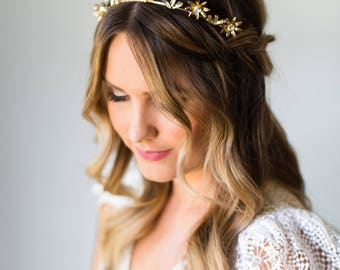 Star Headband Starry Bridal Headpiece Bridal Headband Bridal Crown Bridal Tiara Wedding Headpiece Gold Daisy Headband Crystal Headband #188