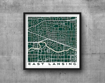 EAST LANSING City Map Giclee Fine Art Print Abstract Modern Wall Art Gift Home Office Sparty Michigan State University Spartans Team Colors