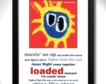 PRIMAL SCREAM - Screamadelica Album Limited Edition Unframed A4 Art Print Mini Poster with Song Titles