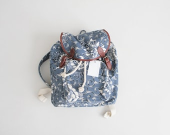 blue floral backpack | floral rucksack | 90s canvas backpack