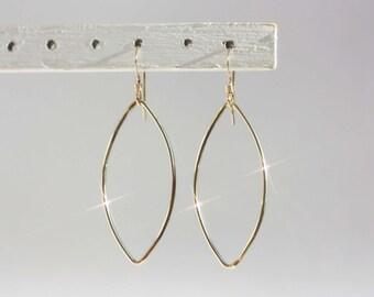 Gold Oval Earrings, Gold Wire Earrings, Gold Marquise Earrings, Delicate Gold Earrings, Gold Dangle Earrings, Gold Drop Earrings, Light Gold