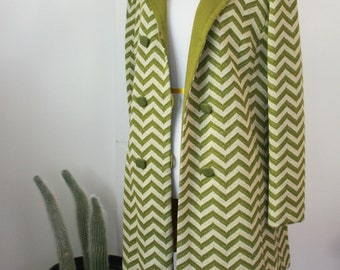 60s/70s Chevron Knit Spring Coat S/M