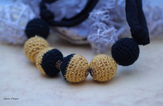 Yellow black crochet bead necklace with seed beads for woman
