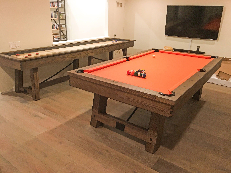 Weathered Pool Table-Rustic Oak Wood-Rustic Trestle Pool Table ...