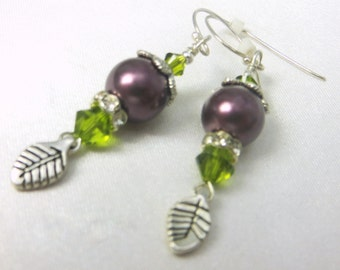 Green and Purple Plum Swarovski Pearl Earrings with Silver Leaves