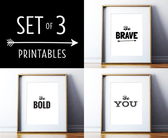 Art digital print set of 3 printables black and white posters motivational quote inspirational wall decor printable art digital download