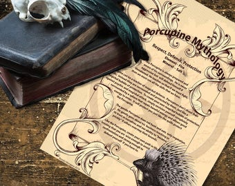 PORCUPINE MYTHOLOGY, Digital Download,  Book of Shadows Page, Grimoire, Scrapbook, Spells, Wiccan, Witchcraft,