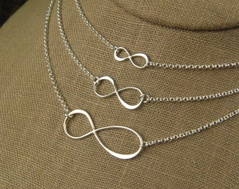 Infinity necklace in sterling silver, infinity necklace, sterling silver infinity, eternity necklace, infinity symbol, mother's day