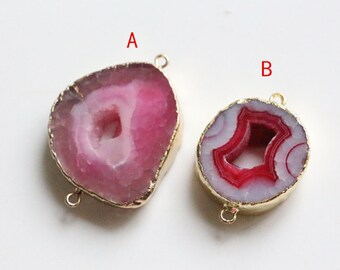 agate drusy connector charm ,natural gemstone drusy connector with gold plated edge,jewelry making supplies
