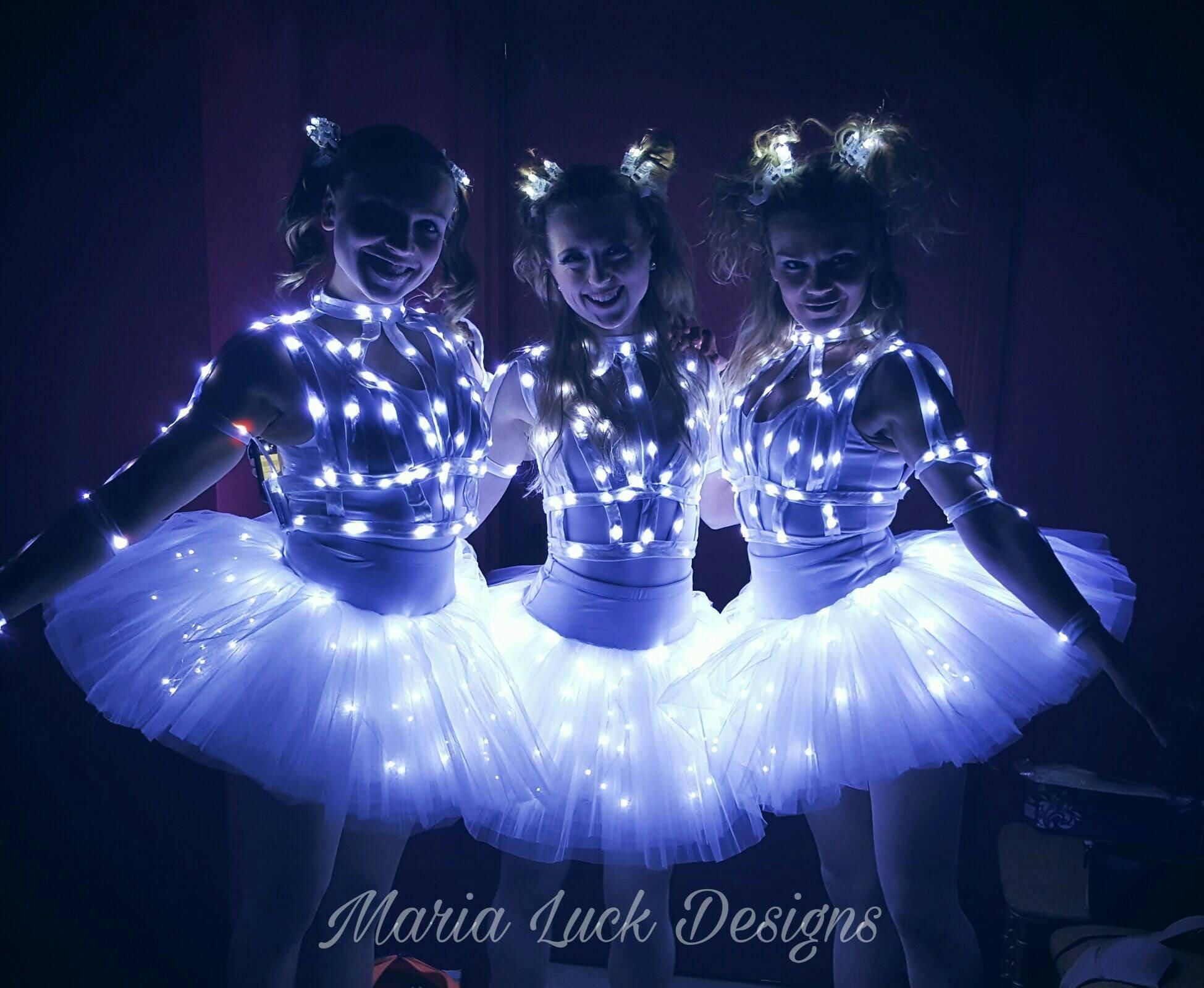 Weiße LED Ballerina Tutu Rock Licht leuchten im dunklen