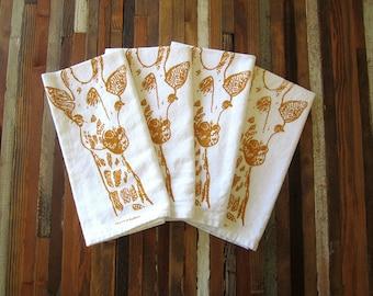 Cloth Napkins - Screen Printed Cloth Napkins - Eco Friendly Dinner Napkins - Giraffe - Handmade - Cotton Cloth Napkins - Table Setting