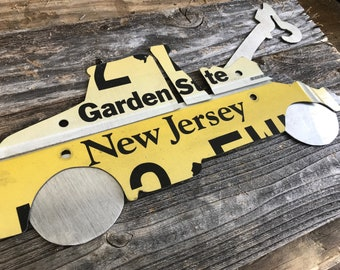 Custom hand cut authentic license plate wood sign any state any shape
