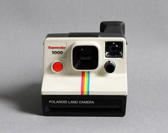 For sale tested Ok mid century 1970's POLAROID Supercolor 1000 camera instant SX - 70 series 600 film button red Made in the UK