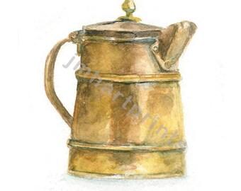 Watercolor Copper Pitcher, Copper Pitcher Print