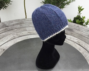 Ladies pure alpaca denim blue beanie hat, alpaca hat, cable hat by Willow Luxury ( one size)