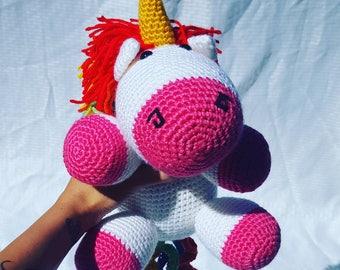 Large Crochet Unicorn, Crochet unicorn, amigurumi unicorn, unicorn plush, unicorn toy, unicorn doll, unicorn, pink and rainbow