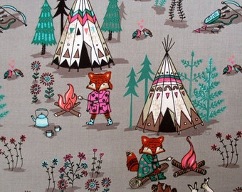 Wilderness Campsite, Light Taupe,Camelot,Cotton Fabric,Rustic Baby Quilt,Baby Boy Quilt,Woodland Crib Quilt,Woodland Baby Quilt,By the Yard