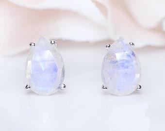 SALE! Rainbow Moonstone Studs Earring, Moonstone Post Earring, June Birthstone, Gemstone Earring, Sterling Silver Studs Earrings bg100