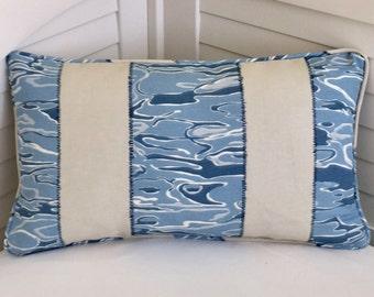 Kravet Waterwave in RIVER Linen Designer 12x20 Lumbar Pillow Cover with Piping